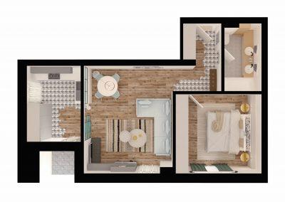 apartament tip 2A - bucatarie inchisa