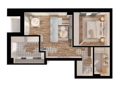 apartament tip 2B - bucatarie inchisa