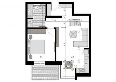 TIP 2A - apartament 2 camere - Aviatorii Residence II - p