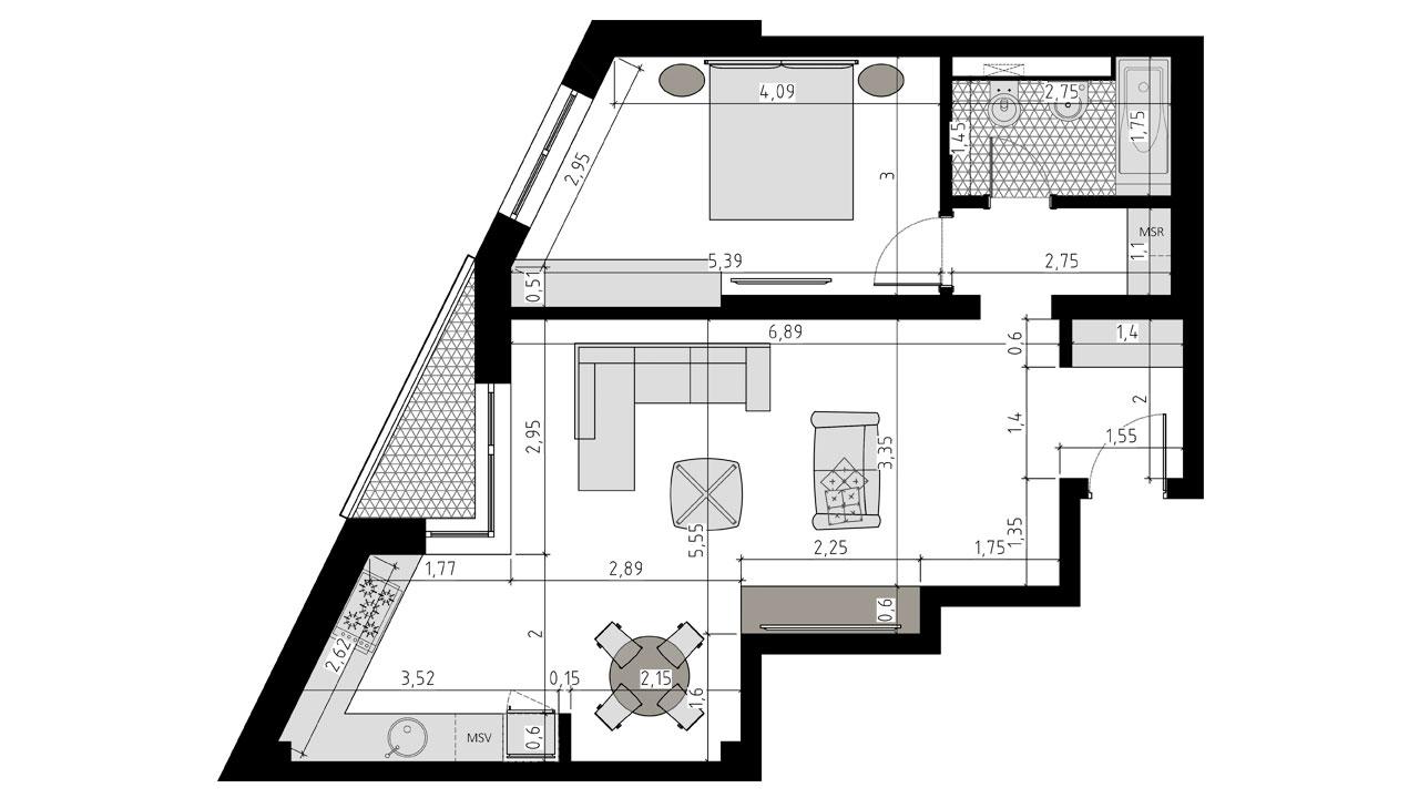 TIP 2D - apartament 2 camere - Aviatorii Residence II - p