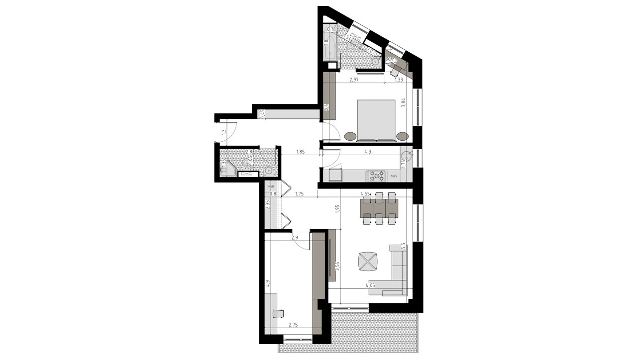 TIP 3A - apartament 3 camere - Aviatorii Residence II - p