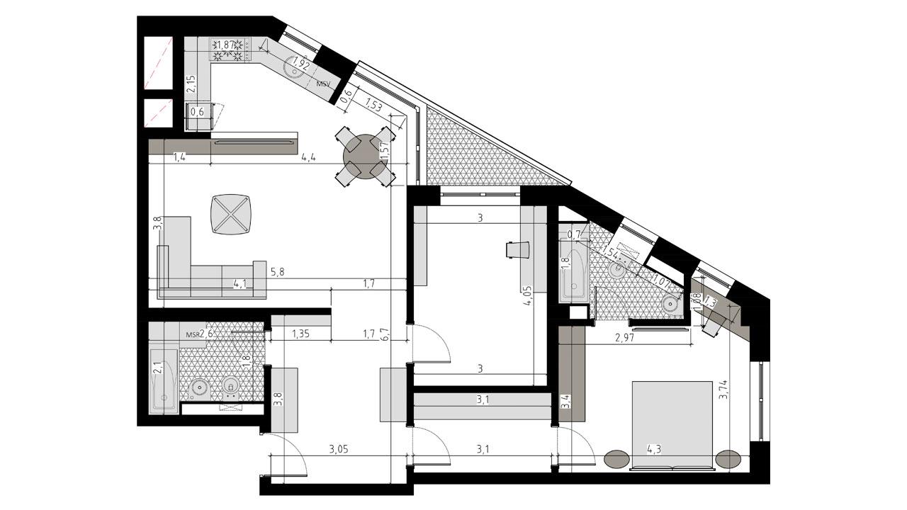 TIP 3E - apartament 3 camere - Aviatorii Residence II - p