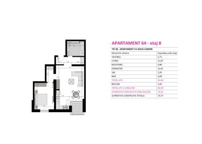 Apartament 64 - Aviatorii Residence II s008