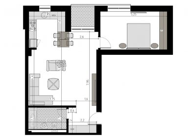TIP-2F - apartament 2 camere - Aviatorii Residence II