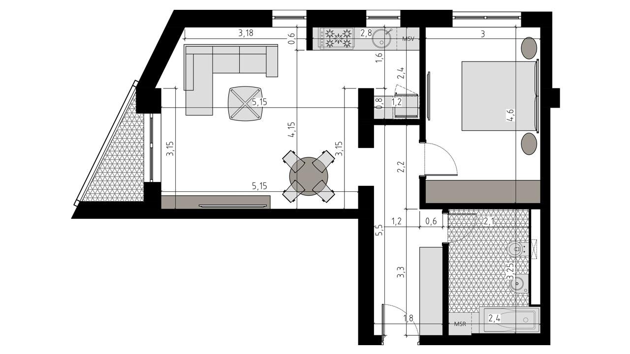 TIP-2E - apartament 2 camere - Aviatorii Residence II