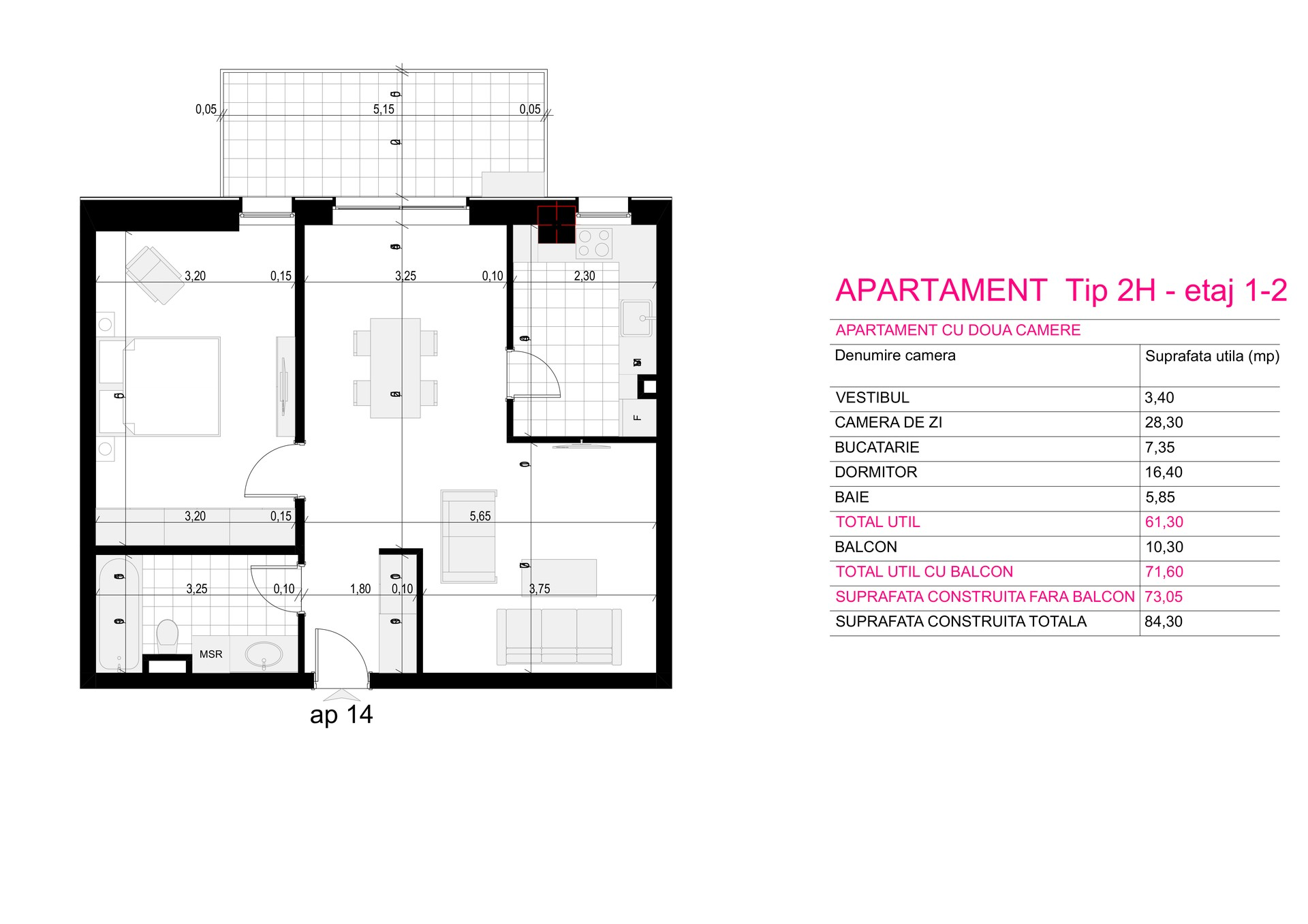 Ap Corp A Tip 2H etaj 1-2 - Aviatorii Residence