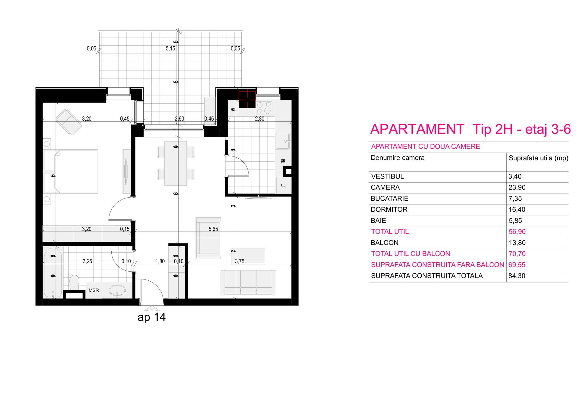 Ap Corp A Tip 2H etaj 3-6 - Aviatorii Residence